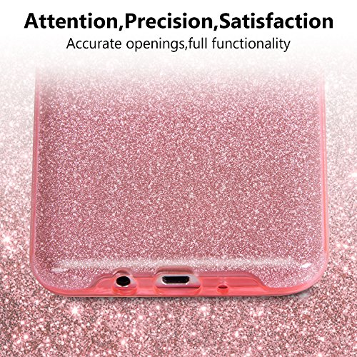 Galaxy S7 Edge Hülle, Imikoko® Glitzer Strass Hülle Handyhülle Schutzhülle [Weiche TPU Abdeckung + Glitzer Farbe Make-up-Schicht + PP innere Schicht] [Drei in Einem] Hülle für Galaxy S7 Edge(Golden 3  Rosagold