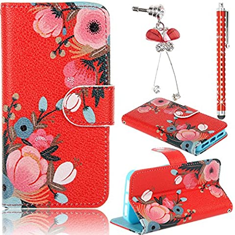 Sunroyal®3 in 1Wallet Funda para Sony Xperia M4 Aqua E2303 PU Leather Cuero Suave Carcasa, Libro Ultra Slim Delgado Flip PU Cuero Cover Case para con Interiores Slip compartimentos para Tarjetas Diseño Patrón Flores Rosas Azules +1X Stylus Pen +1X Enchufe del