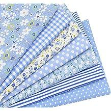 7 Telas costura manualidades vestidos scrapbooking patchwork de 50 x 50 cm colores azules de OPEN BUY