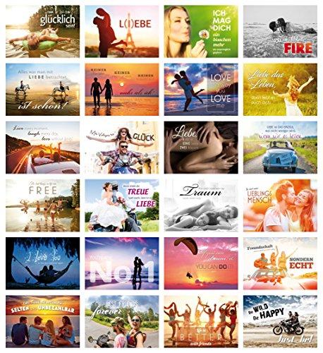 24-er Postkarten-Set LIEBE mit Sprüchen/24 verschiedene Grusskarten/ideal als Hochzeitsspiel oder Geschenk für Beste Freunde (10755-78)