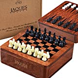 Jaques of London Chess Set, Backgammon Set & Draughts Board Game - 3 in 1 Chess Sets with Backgammon and Draughts Board - A great Chess Set for Children & Adults - Size12cm
