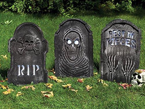 3er Sammler Set LED Leucht Grabsteine Halloween Deluxe Party Deko Schocker je 0,55 Meter groß wunderschöne große Friedhofsdeko im Granit Look mit Moos Effekt alle 3 Steine Mega Grusel (Deluxe Set Grabstein)