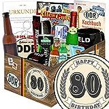 Geschenk zum 80. | Männergeschenke | 80 Geburtstag Geschenke Mann | mit Held der Arbeit Flaschenöffner, Kondome, Bier und mehr