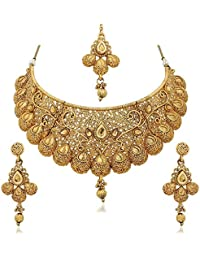 Dairee Traditional Gold Plated Kundan Choker Necklace Set For Women