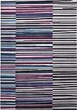 Esprit Marken Teppich, hochwertig im grafischen Streifendesign Seashore (200 x 300 cm, blau/grau / pink)