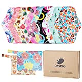 Rovtop Reusable Sanitary Towels Pads(10 packs,25.4cm),Menstrual Panty Pads,Washable Sanitary Towel,Washable Sanitary Pads Cloth Panty Liners+ 2 Mini Carry Bag ECO friendly Gift Box Set