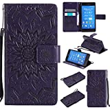 For Sony Xperia Z3 Case [Purple],Cozy Hut [Wallet Case] Magnetic Flip Book Style Cover Case ,High Quality Classic New design Sunflower Pattern Design Premium PU Leather Folding Wallet Case With [Lanyard Strap] and [Credit Card Slots] Stand Function Folio Protective Holder Perfect Fit For Sony Xperia Z3 5,2 inch - purple