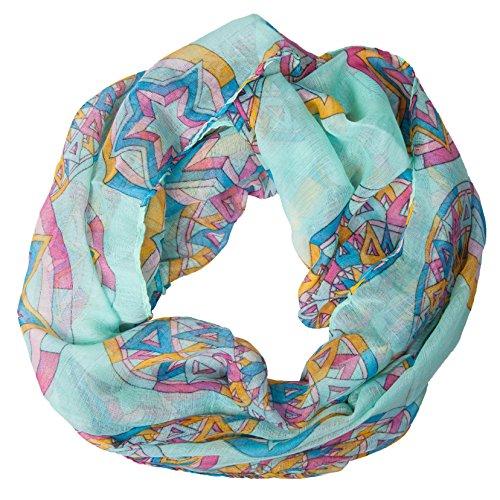 MANUMAR Loop-Schal für Damen | Hals-Tuch in türkis mit Sterne Motiv als perfektes Herbst Winter Accessoire | Schlauchschal | Damen-Schal | Rundschal | Geschenkidee für Frauen und Mädchen