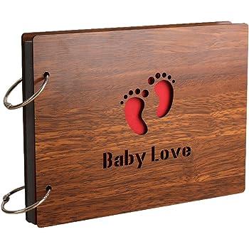 Sehaz Artworks 'Baby Love' Wood Pasted Photo Album (22 cm x 16 cm x 4 cm, Brown)
