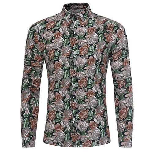 Allthemen Herren Blumen Art-Langärmliges Blumen Hemd Freizeit Shirt von #04 Gelb Rosa