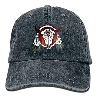 Native American Buffalo Skull Arrowhead Indian Vintage Washed Dyed Cotton Twill Low Profile Adjustable Baseball Cap Black