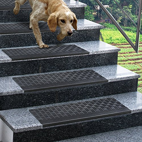 etm® Set of 5 Outdoor Rubber Non-Slip Stair Treads, Diamond | 0.8cm Thick (25 x 65cm) | 100% Weatherproof, Superb Grip