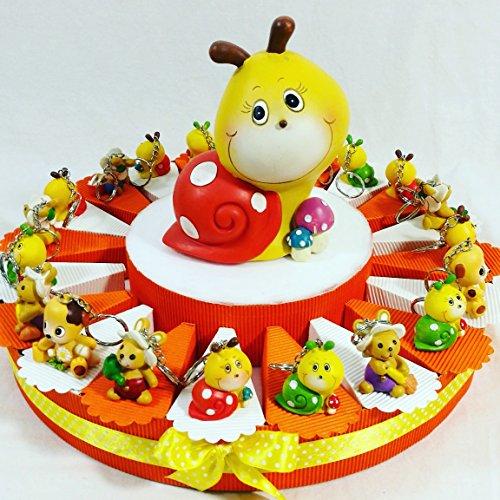 Bomboniere nascita battesimo bambina/o appoggio, portachiavi, magnete selezionando la scelta offerta on line kkk (torta bomboniera portchiavi animaletti arancione)