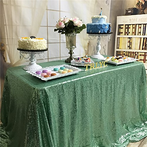 (trlyc 127x 182,9cm Shimmer Pailletten Stoff Tischdecke für Hochzeit Farben sind erhältlich, Sonstige, Mintgrün, 50