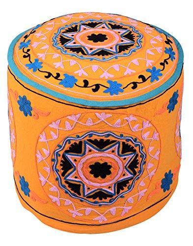 Indiana arancione Bohemian poggiapiedi Rotondo floreale ricamato Pouf copertina vintage in cotone Ottoman Cover coperchio (Sedia Da Giardino Ottomano)