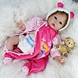 Nicery Reborn Baby Doll Soft Silicone Vinyl 22inch 55cm Magnetic Mouth Lifelike Boy Girl Toy Pink Bear Dress A3US