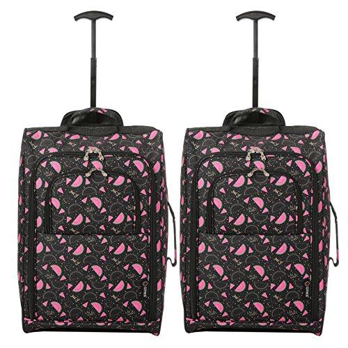 """Set di 2 21 """"  55cm 5 Cities cabina Approvato mano bagaglio leggero  sacchetti del ... bc794cf3297"""
