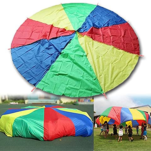 HANGQI(R) 2M Large Play Colorful Parachute Kids Children Outdoor Game Exercise Sport Toy