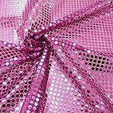 Kreativstoff Pailletten Lurex Stoff pink schwarz 6mmØ 1,1m Breite