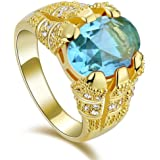 Men's Gold Ring Yellow Gold 18K Plated with sky blue zircon stone size US 9