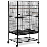 Milo & Misty 2 Tier Large Metal Aviary Bird Cage for Budgies, Cockatiels, Parrots, Lovebirds, Parakeets, Finches & More - Black