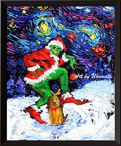 Weihnachten Grinch Dekorationen (uhomate The Grinch Christmas Ornaments Poster Vincent Van Gogh Starry Night Poster Leinwandbild Home Kunstdruck Jahrestag Geschenke Baby Kinderzimmer Decor Wohnzimmer Wall Decor A072), 8x10 inch)