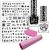 Weihnachten Nailart Stamping XL-Set - Christmas Set - inkl. Maxi Stempel Schablone nfxmas03 + KONAD Stampinglack weiss 10ml + KONAD Stamping-Lack schwarz 10ml + KONAD Doppelstempel inkl. Scrapper