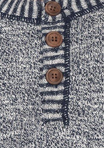 SOLID Thiago Herren Strickpullover Feinstrick Pulli mit Rundhals-Ausschnitt und Knopfleiste aus 100% Baumwolle Meliert Insignia Blue (1991)