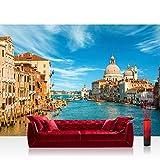 Vlies Fototapete 300x210 cm PREMIUM PLUS Wand Foto Tapete Wand Bild Vliestapete - Venedig Tapete Venedig Wasser Dom Himmel Häuser Italien blau - no. 444