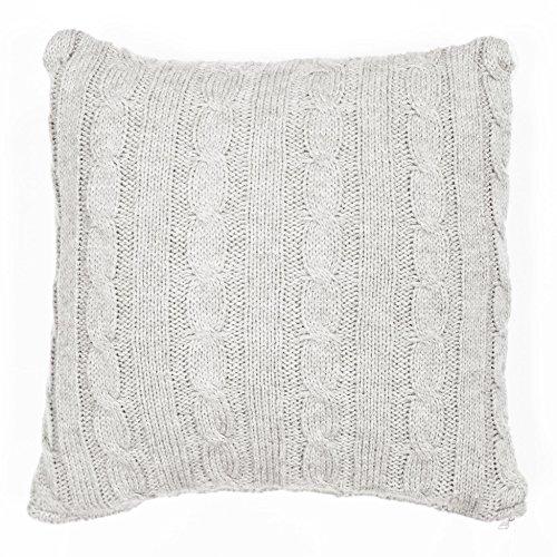 Couleur Montagne Housse de Coussin + Encart Tricot Lainy Polyester Naturel 40 x 40 cm