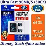 2 Tarjeta MicroSDXC 64GB y adaptador (Clase 10 UHS-I Micro SD Extreme Pro Memoria Card) 64 GB MicroSD SDXC ultra alta velocidad 90 MB/s 600X UHS-1. Transflash de 64G Amplim para móvil y tablet TF Plus