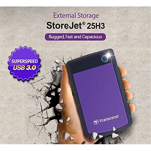 Transcend StoreJet 25H3P 2 TB Externe Festplatte (6,4 cm (2,5 Zoll), 5400 rpm, 8 MB Cache, USB 3.0) grau/violett
