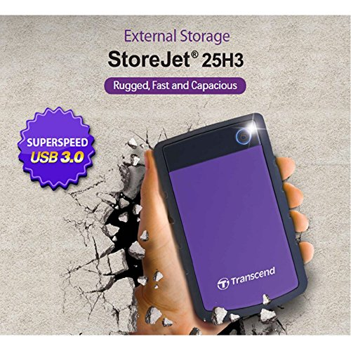 Transcend StoreJet 25H3P Anti-Shock 4 TB Externe Festplatte (6,4 cm (2,5 Zoll), USB 3.0) grau/violett