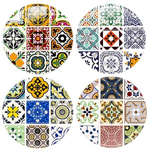BOHORIA® Premium Design Keramik Untersetzer (4er Set) - Dekorative Untersetzer für Glas, Tassen, Vasen, Kerzen auf ihrem Esstisch aus Holz, Glas oder Stein (rund | 10.3cm) (Ceuta Ceramic)