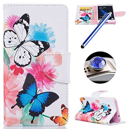 ETSUE Leather Case for Samsung Galaxy J3 Pro,Wallet Case for Samsung Galaxy J3 Pro,Colorful Painting Pu Leather Magnetic Book Style Wallet Flip Protective Case with Stand Card Holder for Samsung Galaxy J3 Pro+Blue Stylus Pen+Bling Glitter Diamond Dust Plug(Colors Random)-Butterfly Flower Test