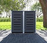 2 Mülltonnenboxen Modell No.6 Anthrazitgrau für 120 Liter Mülltonnen / witterungsbeständig durch Pulverbeschichtung / mit Klappdeckel und Fronttür