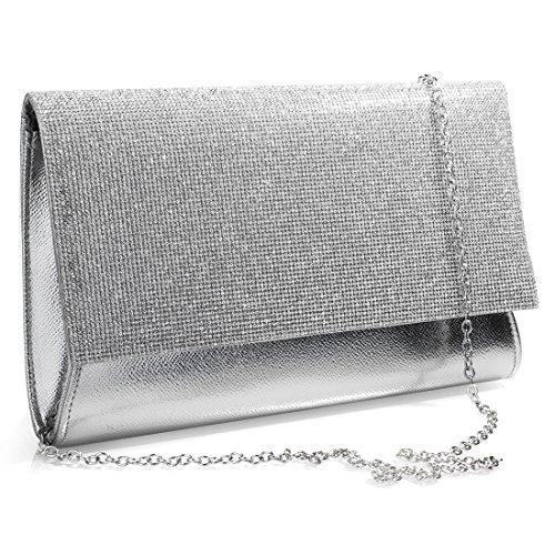 Clutch Bag Evening Damen SSMK Silber OYRpt1qw