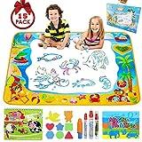 Pachock Aqua Magic Doodle Matte, 100 x 70 cm Wasser Doodle Matte mit 8 Stempelset 1Wasserzeichenbuch und 4 Magic Stifte, Wiederverwendbare Wasser Malmatte für Kinder...