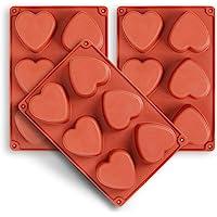 homEdge Moule en silicone en forme de cœur pour 6 cavités, 3 paquets de moules en forme de cœur pour la fabrication de…