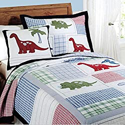 accface suave–Juego de ropa de cama para niños tren patrón edredones solo doble King size, algodón, diseño de dinosaurio, suelto
