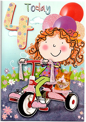Geburtstagskarte für vier (4) Jahre alte (gratis 1. Klasse Post (UK)