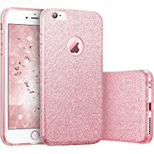 new arrival 7b284 f9cec Coovertify Funda Purpurina Brillante Rosa iPhone 6 6S Plus, Carcasa  resistente de gel silicona
