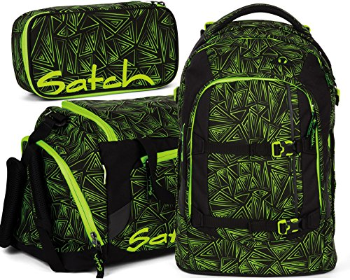 satch pack Green Bermuda 3er Set Schulrucksack, Sporttasche & Schlamperbox - 3 Schulranzen