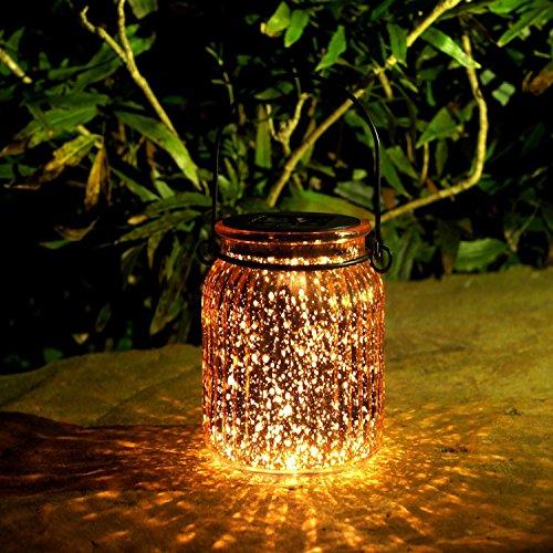 Solarleuchte im Einmachglas mit Henkel Wasserdicht Solarlampe für Garten, Balkon, Terrasse und Tischdekoration Warmweiß 2 Stück (Kupfer)