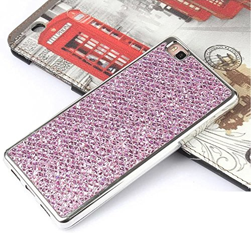 Cover iPhone 7 Plus,Custodia iPhone 7 Plus,Leweiany Moda Lusso 3D Belle iPhone 7 Plus Cover Silicone Forma Geometrica con Brillantini Bling Glitters Paraurti in Placcatura TPU Morbida Antiuroto Ultra Viola