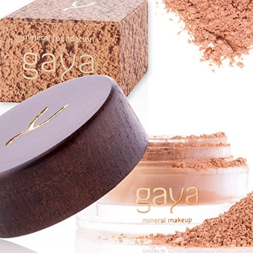 Gaya Cosmetics Foundation Make Up Puder - Vegan Mineral Professionelle Natürliche Full Coverage Foundation Makeup Powder (Schattierung MF3)