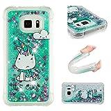 E-Mandala Samsung Galaxy S6 Edge Hülle Glitzer Flüssig Liquid Glitter Case Cover Handyhülle Schutzhülle Transparent mit Muster Durchsichtig Tasche Silikon - Einhorn Cool Unicorn Grün