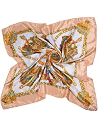iShine Foulard Carré Féminin Motifs Floral Imprimé Turban Grand Taille Echarpe  Printemps Automne Soie Satin Lisse de4acef21ac