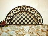 Antikas - Fußabtreter Landhausstil -filigran verziert Fußmatte wetterfest Gitter halbrund