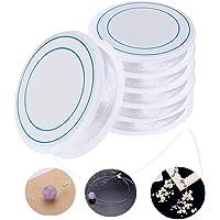 Ealicere 6pcs*8 mètres 0.8mm Bijoux Perle fil de fibres élastiques Élastique en Polyester des fils de caoutchouc de fil…